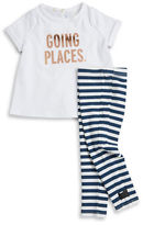 Kate Spade Baby Girls Going Places Tee and Striped Leggings Set