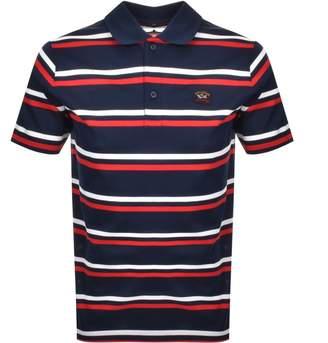 Paul & Shark Paul And Shark Striped Polo T Shirt Navy