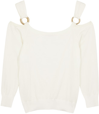 Boutique Moschino Ivory open-shoulder cotton jumper