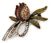 Avalaya Vintage Burn Gold Crystal Rose Brooch (Clear, Citrine, Olive & Amber Colour)