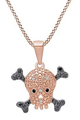 """14k Gold Over Sterling Silver Black & White Diamond Skull With Crossbones Pendant Necklace For Women 18"""" Chain (1/10 Cttw"""