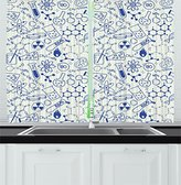 Kids Decor Kitchen Curtains by Ambesonne, Science Chemistry Geometry Math Nerd Geek Genius Themed Design Artwork, Window Drapes 2 Panels Set for Kitchen Cafe, 55 W X 39 L Inches, Navy Blue and White