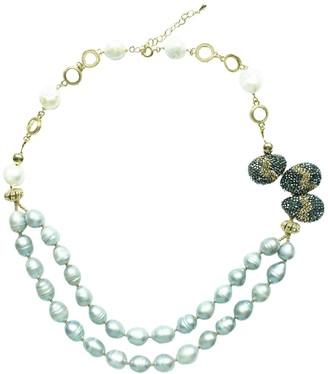 Farra White Gray Freshwater Pearls & Rhinestones Necklace