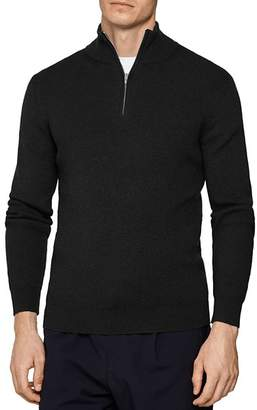 Reiss Campbell Ribbed Half-Zip Sweater