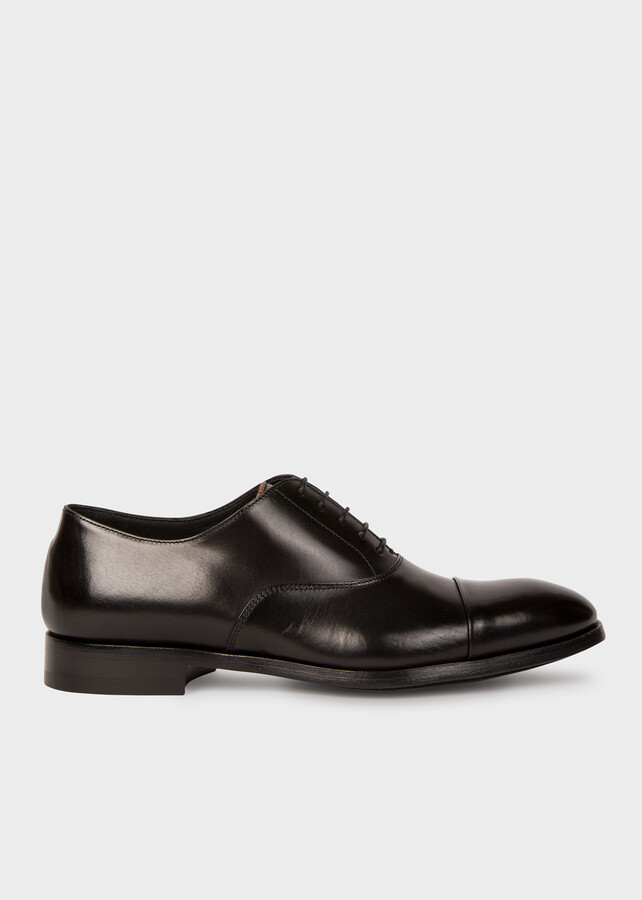 Paul Smith Men's Black Leather 'Brent' Oxford Shoes With 'Signature Stripe' Details