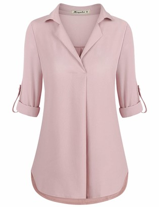 Moyabo Office Blouses for Women Plus Size 3/4 Sleeve T-Shirt Comfortable Ladies Cuffed Tunic Blouses Shirts Dusty Pink Large