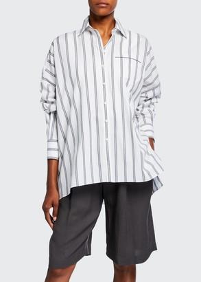 Brunello Cucinelli Monili-Trim Striped Cotton Button-Front Shirt
