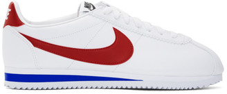 Nike White and Red Classic Cortez Sneakers