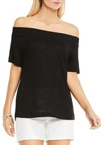 Vince Camuto Smocked Off-The-Shoulder Tee