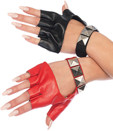 Leg Avenue Black & Red Stud Fingerless Gloves
