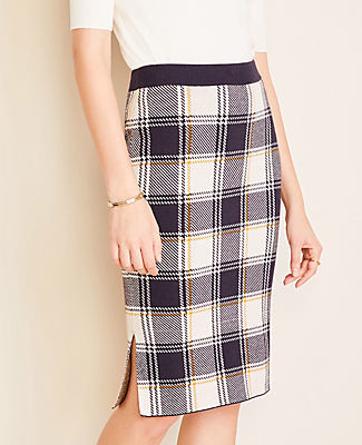 Ann Taylor Petite Plaid Pencil Sweater Skirt