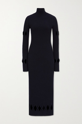 Victoria Beckham Cutout Ribbed Wool-blend Turtleneck Midi Dress - Midnight blue