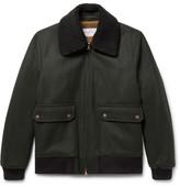 Private White V.C. - Shearling-trimmed Melton Wool Bomber Jacket - Dark green