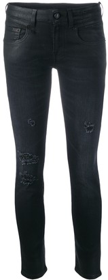R 13 Low-Rise Coated Skinny Jeans