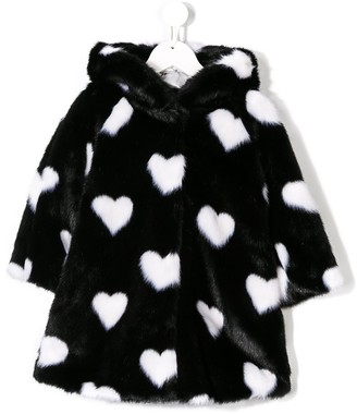 MonnaLisa Love-Heart Faux Fur Coat