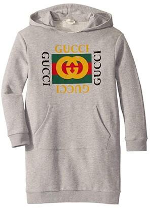 Gucci Kids Vintage Long Sleeve Dress w/ Hood (Little Kids/Big Kids) (Bright Fuchsia/Green/Red) Girl's Clothing