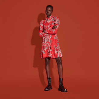 Sandro Short printed dress with draped neckline