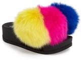 Jeffrey Campbell Women's Edie Pom Faux Fur Slide Wedge