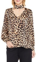 Vince Camuto Women's Long Sleeve Animal Choker Blouse