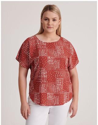 Regatta Short Sleeve Top in Syrah Abstract Spot Print