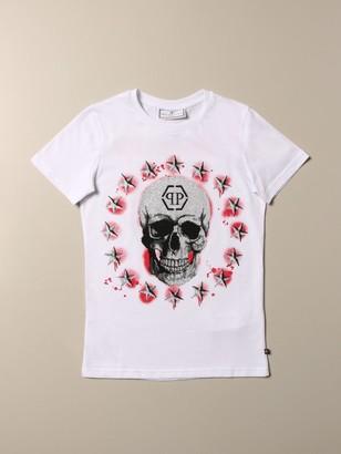 Philipp Plein Cotton T-shirt With Skull And Rhinestones