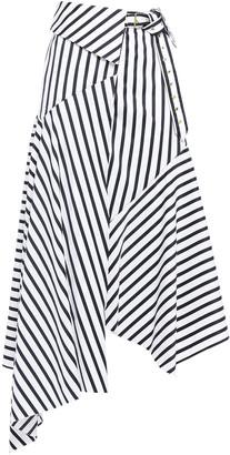 Marques Almeida Asymmetric Belted Striped Cotton-poplin Midi Wrap Skirt