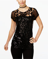 INC International Concepts Sequined Lace Illusion Top, Only at Macy's