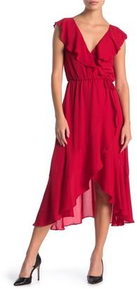 Socialite Ruffled Faux Wrap High/Low Midi Dress