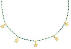 Adina's Jewels Star Charm Green Beaded Choker Necklace, 12.5-14.5