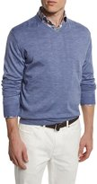 Peter Millar Wool-Blend V-Neck Sweater, Purple