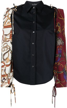 Rokh Equestrian-Print Tied-Panel Shirt