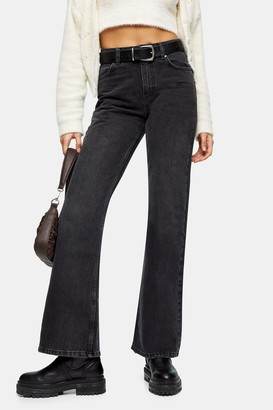 Topshop Womens Two Washed Black 90S Flare Jeans - Washed Black
