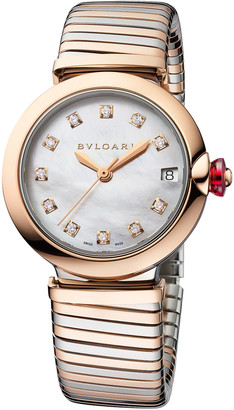 Bvlgari LVCEA Tubogas 33mm Diamond Bracelet Watch, Two-Tone