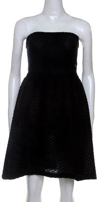 Chanel Black Cotton Blend Fish Scale Pattern Knit Strapless Dress M