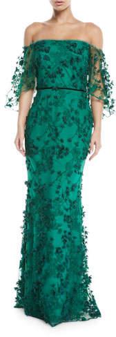 Marchesa Off-the-Shoulder Gown w/ 3D Flower Lace