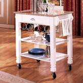 Bernards Kitchen Cart with Marble Top Bernards Base Finish: White