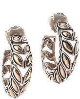 John Hardy 18 Kt Yellow Gold Sterling Silver Kawung Hoop Earrings New
