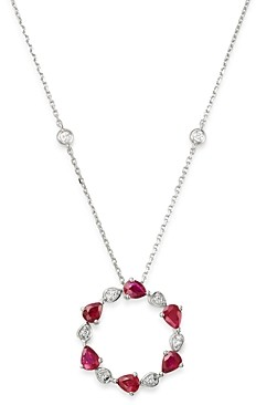 Bloomingdale's Ruby & Diamond Circle Pendant Necklace in 14K White Gold, 18 - 100% Exclusive