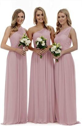 Lecureler Long One Shoulder Prom Bridesmaid Dress Blush Size 8