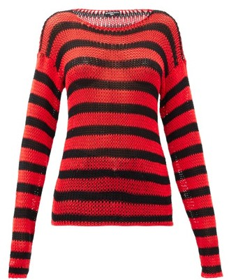 Raf Simons Ss97 Striped Open-knit Cotton Sweater - Black Red