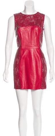 Versace Leather-Accented Mini Dress w/ Tags