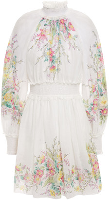 Zimmermann Zinnia Shirred Floral-print Ramie-voile Mini Dress
