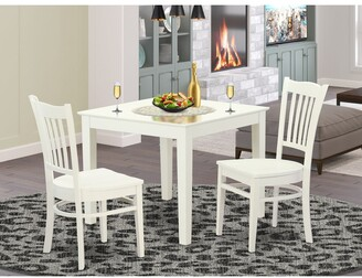 East West Furniture OXGR3-W 3-Piece breakfast nook table and 2 wood dining room chair in Linen White Finish