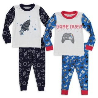 Sol Sleep Baby Boys & Toddler Boys Snug Fit Cotton Long Sleeve Pajamas, 4-Piece PJ Set (12M-4T)