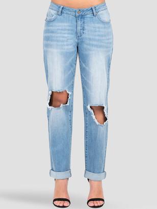 Poetic Justice Curvy Fit Verla Destroyed Boyfriend Jeans