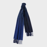 Paul Smith Men's Navy Gradient Lambswool-Cashmere Scarf With Indigo Reverse