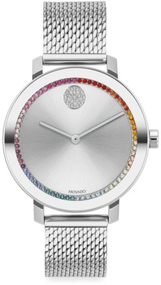 Movado Bold Evolution Stainless Steel & Rainbow Crystal Mesh Bracelet Watch