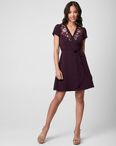 Le Château Embroidered Knit Wrap-Like Dress