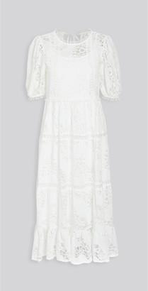 Moon River White Puff Sleeve Midi Dress