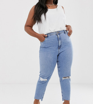 Asos DESIGN Curve Farleigh high waisted slim mom jeans in light vintage wash with slashed rips & raw hem detail-Blue